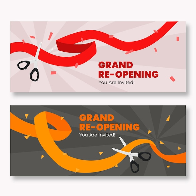Grand re-opening banners with ribbon and scissors Free Vector