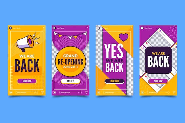 Grand re-opening instagram stories concept Free Vector