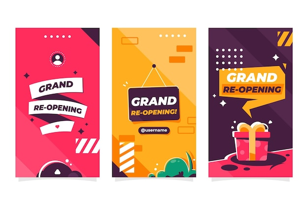 Grand re-opening instagram stories template Free Vector