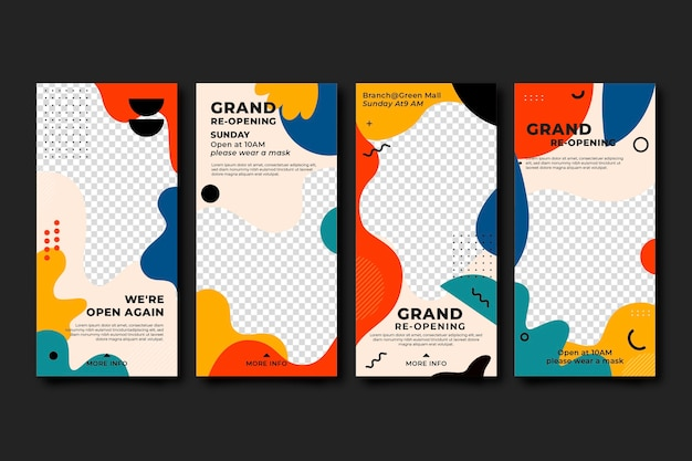 Grand re-opening instagram stories Free Vector