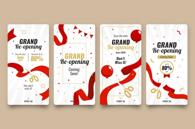 Grand re-opening instagram stories Premium Vector