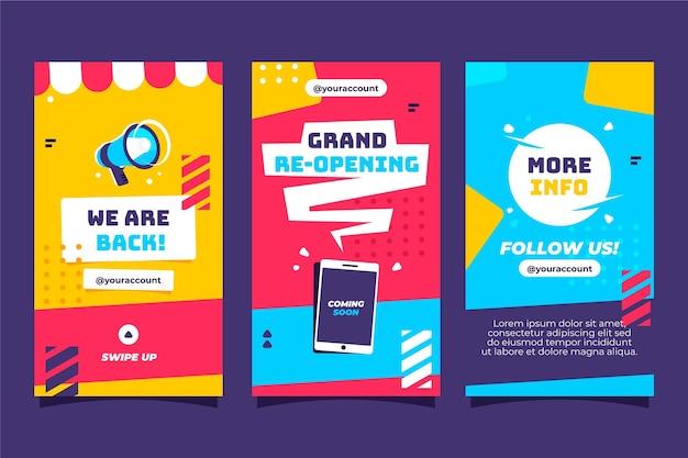 Grand re-opening instagram stories Premium Vector