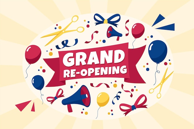 Grand re-opening soon background Free Vector