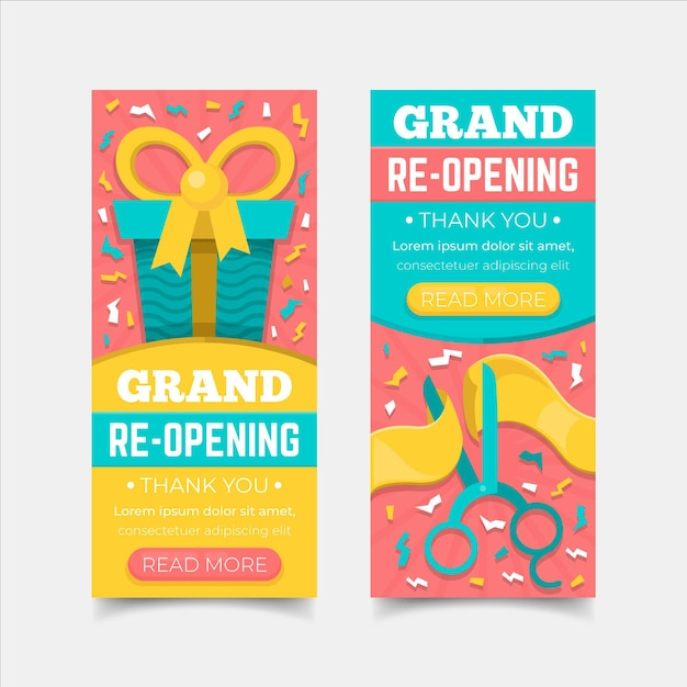Grand re-opening soon banner concept Free Vector