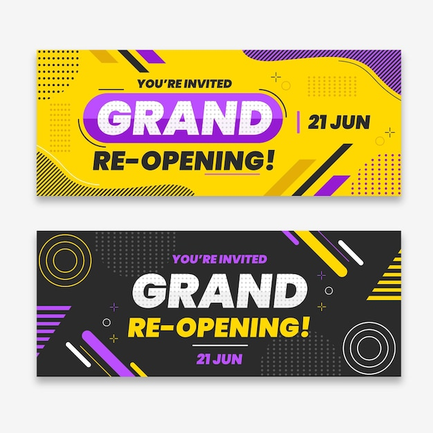 Grand re-opening soon banner template Premium Vector