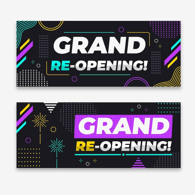 Grand re-opening soon banner Free Vector
