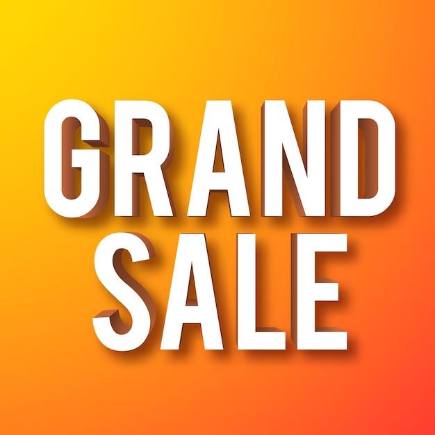 Текст баннера grand sale с 3d-эффектом Бесплатные векторы