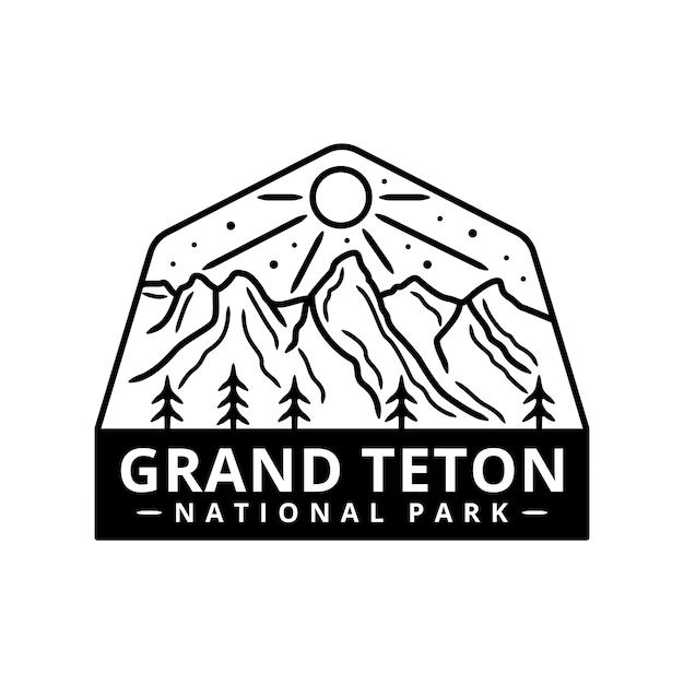 Grand teton national park sticker Premium Vector