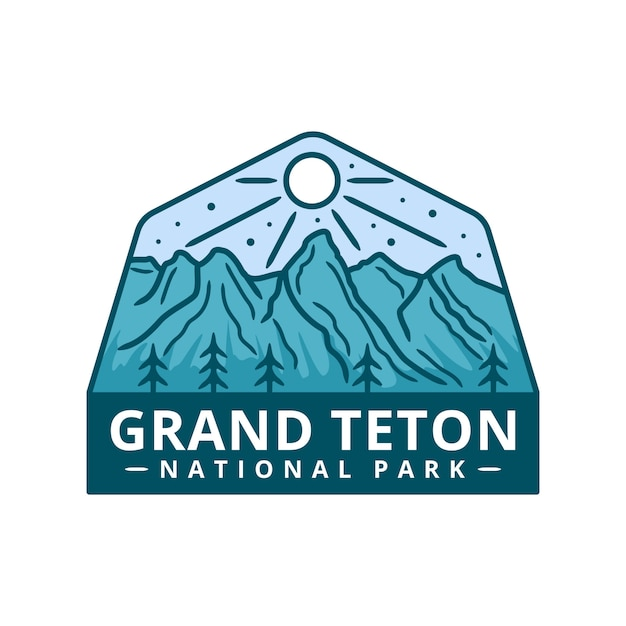 Grand teton national park sticker Premium Vector