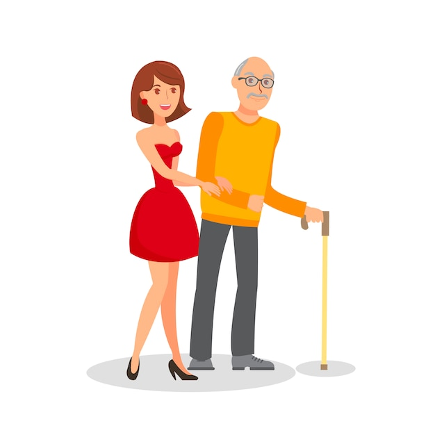 Granddaughter with grandfather flat illustration Premium Vector
