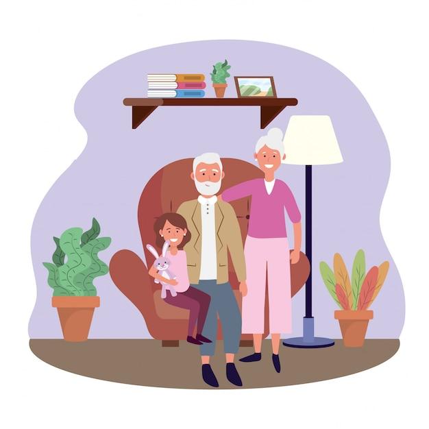 Старая женщина и мужчина с granddauhter в кресле Бесплатные векторы