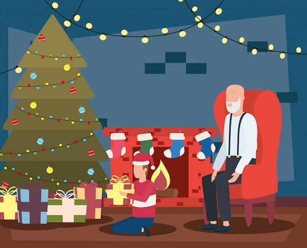 할아버지와 손자 나무와 거실에서 크리스마스를 축하 프리미엄 벡터