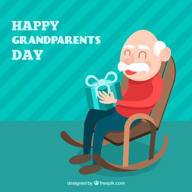 Grandfather background sitting with a gift Free Vector