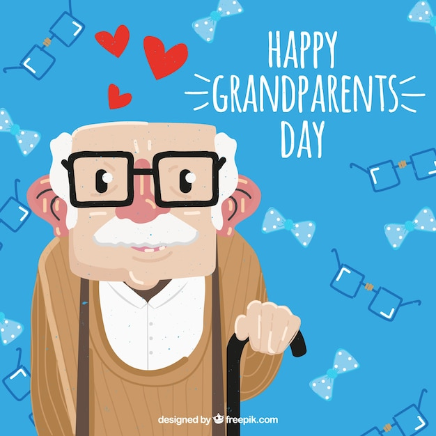 Grandfather background with glasses and cane Free Vector