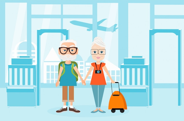Grandfather and grandmother with a packsack travel. traveling with the knapsack. illustration of airport interiors. travel concept. Premium Vector