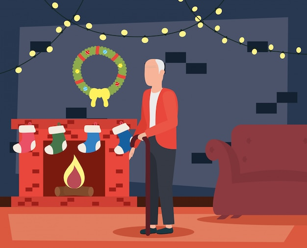 Grandfather in livingroom with christmas decoration Free Vector