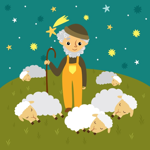 Grandfather shepherd in a meadow and sleeping sheep. starry sky Free Vector