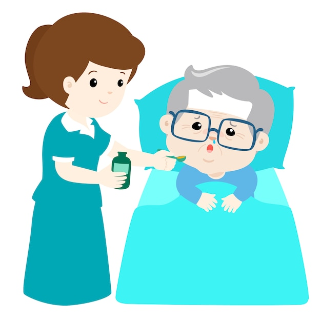 Grandfather taking medicine from nurse assistant with spoon Premium Vector