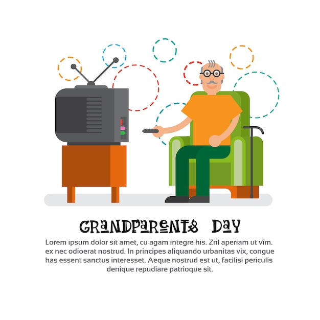 Grandfather watching tv happy grandparents day greeting card banner Premium Vector