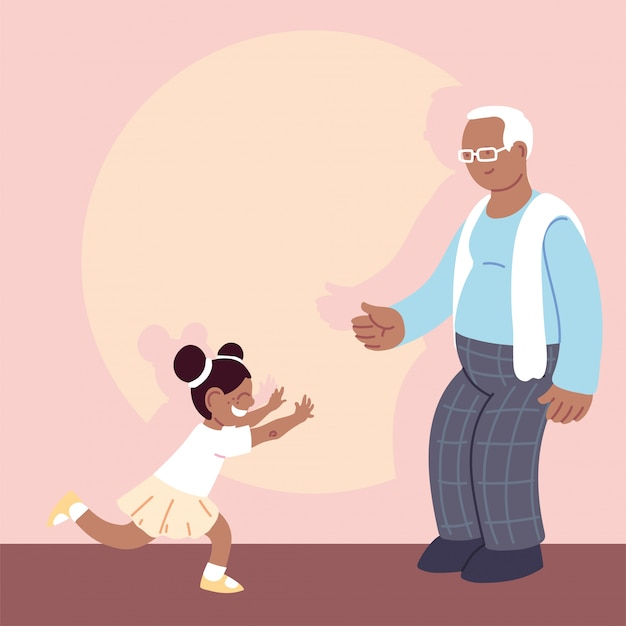 Grandfather with ggranddaughter, happy grandparents day Premium Vector