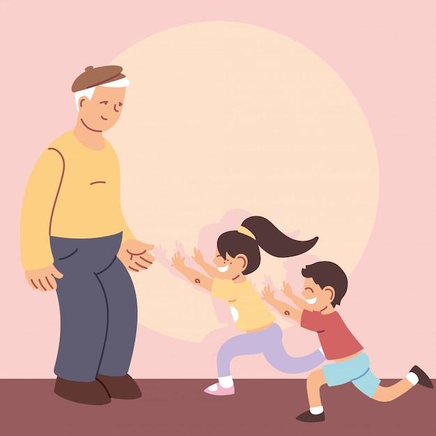 Grandfather with grandchildren, happy grandparents day Premium Vector
