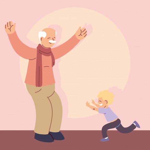 Grandfather with grandson, happy grandparents day Premium Vector