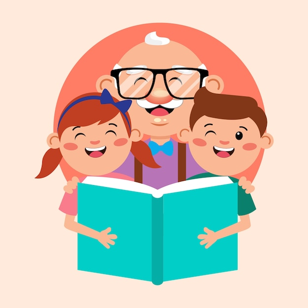 Grandfather with kids reading book cartoon illustration Premium Vector