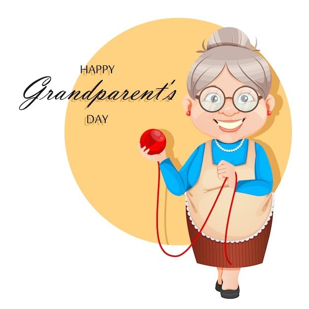 Grandma cartoon character holding a ball of wool Premium Vector
