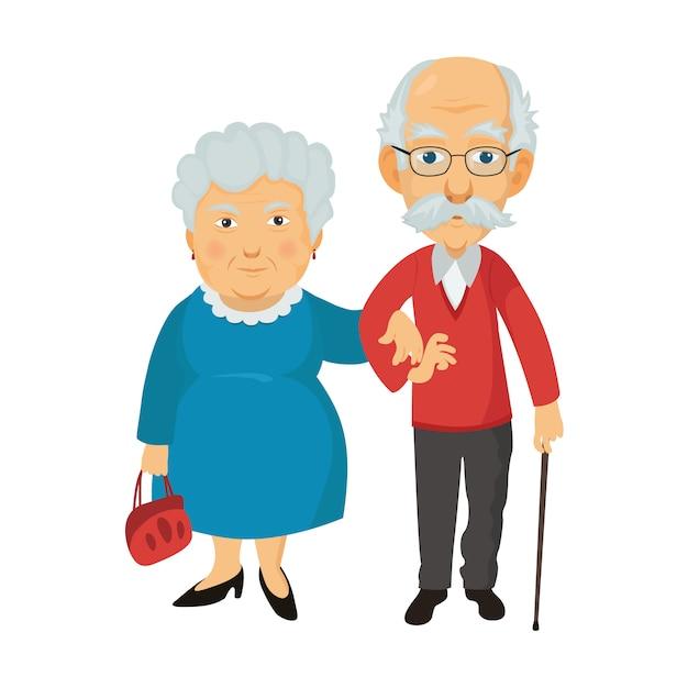 Grandma and grandpa together Premium Vector