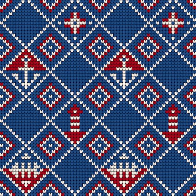 Grandma knitting pattern for ugly sweater Premium Vector