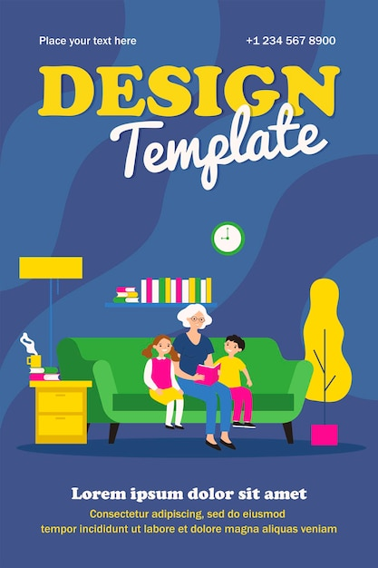 Grandma reading fairytale to kids template Premium Vector