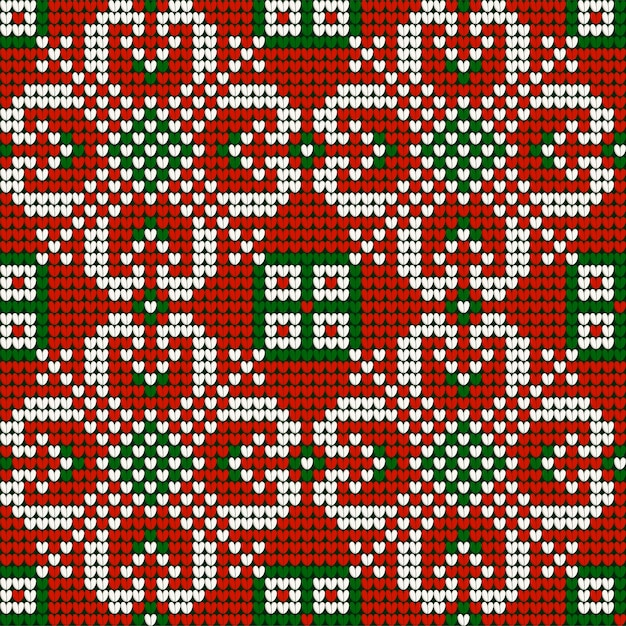 Grandma s christmas knitting pattern in red, green and white colors Premium Vector