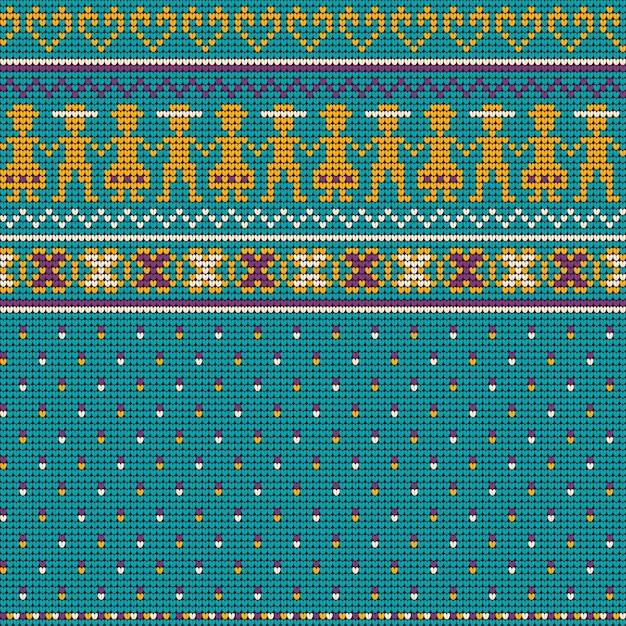 Grandmas christmas knitting pattern Premium Vector