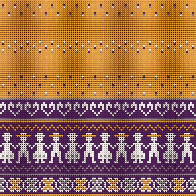 Grandmas ugly sweater knitting patterns Premium Vector