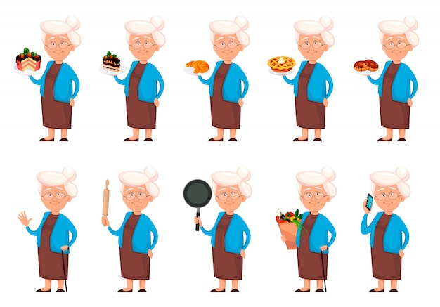 Grandmother cartoon character, set of ten poses Premium Vector