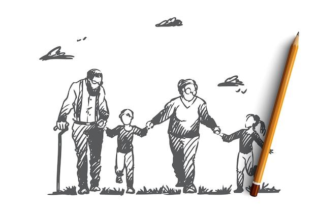 Grandmother, grandfather, grandchildren, family, generation concept. hand drawn happy big family with grandmother and grandfather concept sketch. Premium Vector