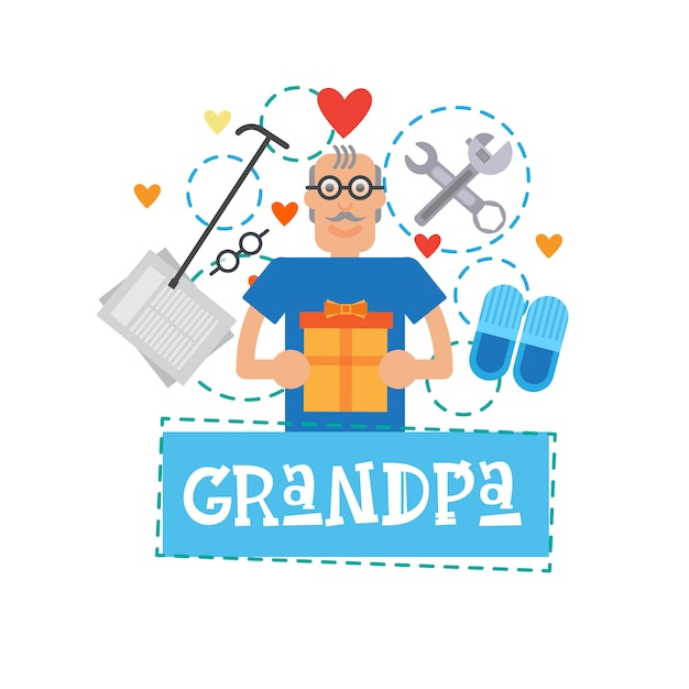 Grandmother holding present box happy grandparents day greeting card banner Premium Vector