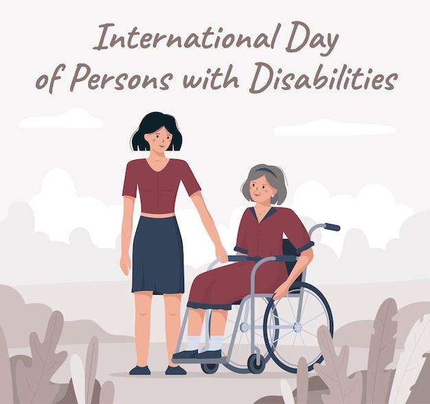 Бабушка в инвалидной коляске, международный день инвалидов Premium векторы