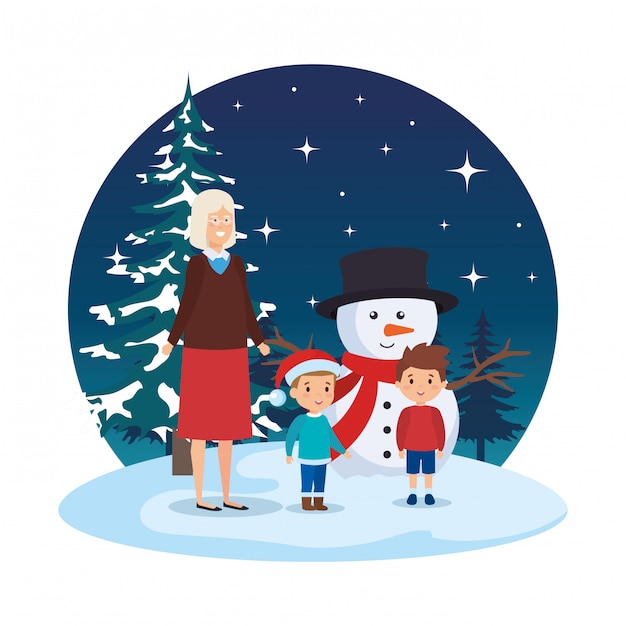 Grandmother and kids with snowman in snowscape Premium Vector