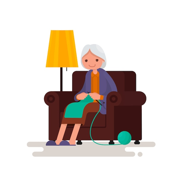 Grandmother knits sitting in a chair illustration Premium Vector
