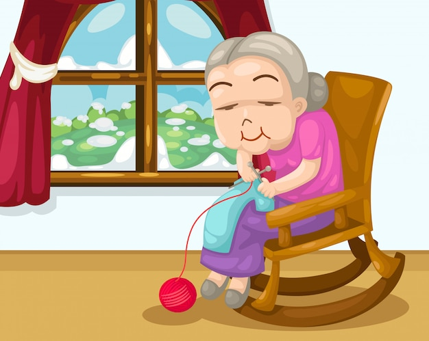 Grandmother knitting vector Premium Vector