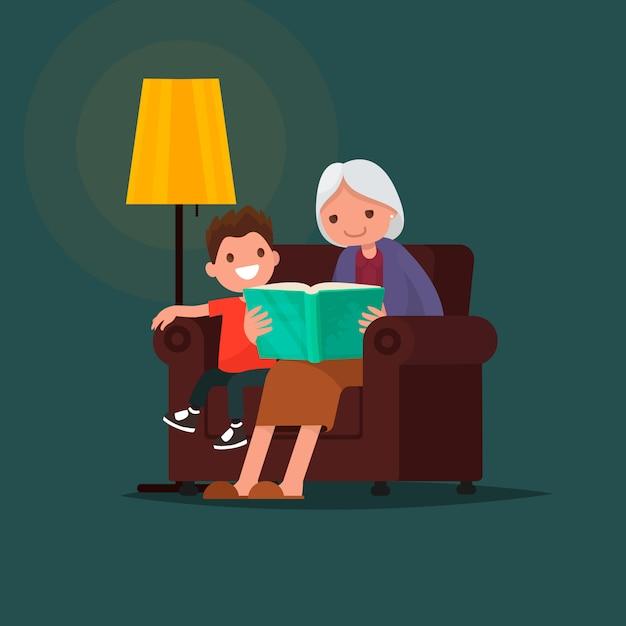 Grandmother reading a book grandson. Premium Vector