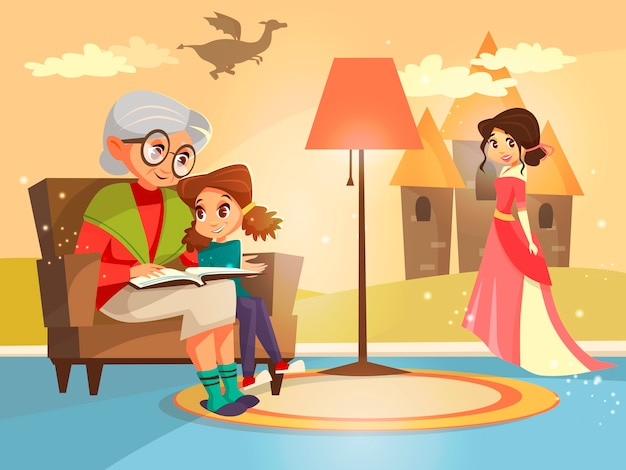 Grandmother reading fairy tale book to girl kid sitting at armchair. Free Vector