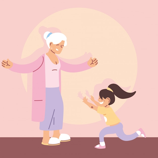 Grandmother with granddaughter, happy grandparents day Premium Vector