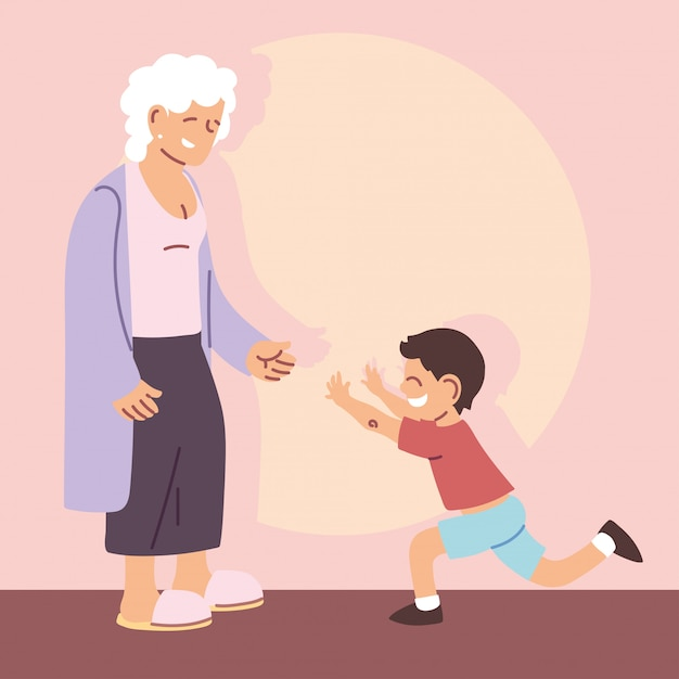 Grandmother with grandson, happy grandparents day Premium Vector