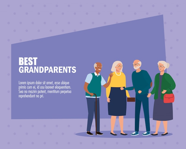 Grandmothers and grandfathers on best grandparents vector design Premium Vector