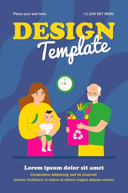 새로운 엄마와 아기 템플릿에 과일 가방을주는 할아버지 프리미엄 벡터