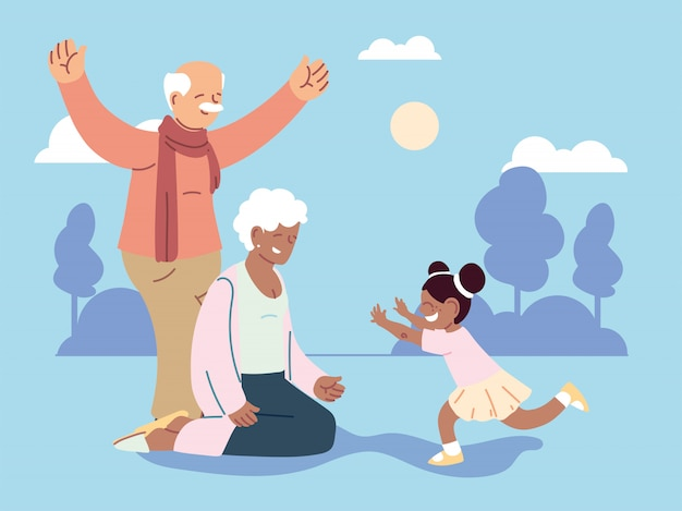 Grandpa and grandma with granddaughter, happy grandparents day Premium Vector