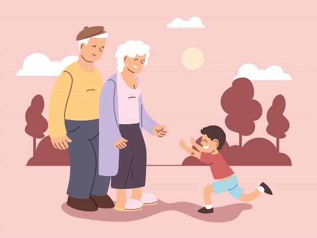 Grandpa and grandma with grandson, happy grandparents day Premium Vector