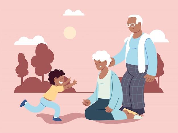 Grandpa and grandma with grandson, happy grandparents day Premium Vector